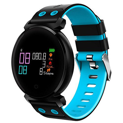 - luckyruby K2 Bluetooth 4.0 Nordic NRF52832 Chip Sleep Heart Rate Blood Pressure Blood Oxygen Calories Monitor Remote Camera Smart Watch for iOS Android Phones (Blue)