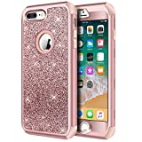 Wireless : iPhone 8 Plus Case, iPhone 7 Plus Case, Hython Heavy Duty Defender Protective Case Bling Glitter Sparkle Hard Shell Armor Hybrid Shockproof Rubber Bumper Cover for iPhone 7 Plus and 8 Plus, Rose Gold