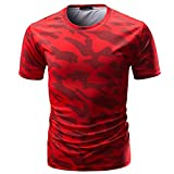 Xlala Men's Short Sleeve Casual Camouflage Print O Neck Pullover T Shirt Slim Fit Fitness Motion Top Blouse Hippie Novelty Clothing (Red, M)