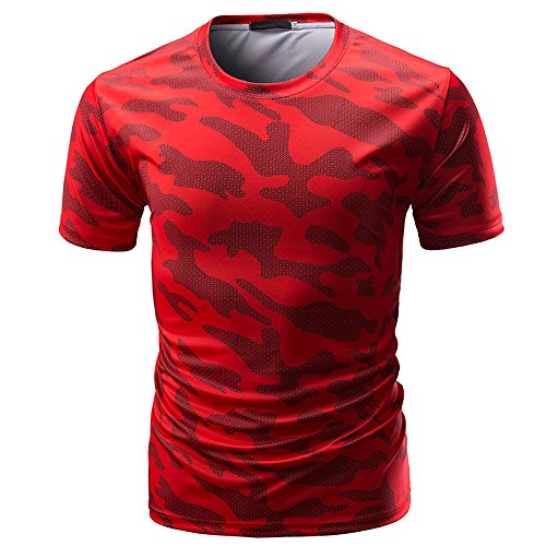 - OVERDOES Men's Casual Camouflage Print Tee O Neck Breathable Pullover T-Shirt Top Blouse