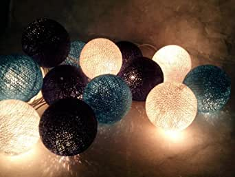 Amazon.com: 20/set Asian Thai Handmade Blue Yarn Cotton Ball String Light Decor Home Living Room ...