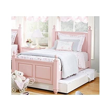Amazon.com: Girl\'s Shabby Chic, Petal Pink Twin Four Poster Bed ...
