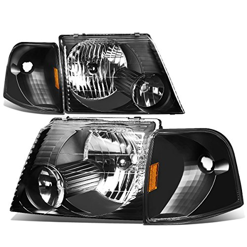 For Ford Explorer U152 Pair of Black Housing Headlight+Amber Corner Signal Light