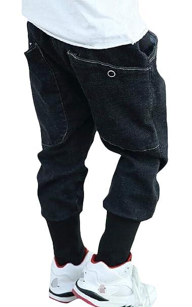 4d22cde12 Amazon.com: Lutratocro Boys' Faded Harem Jean Denim Big Pockets Fashion  Jogger Pants: Clothing