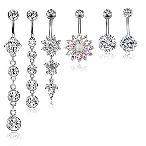 CABBE 6Pcs Belly Button Rings Set for Women 14G Stainless Steel Dangle Navel Rings Barbells (A:6Pcs Silvertone) (Belly Free Rings Button Shipping)