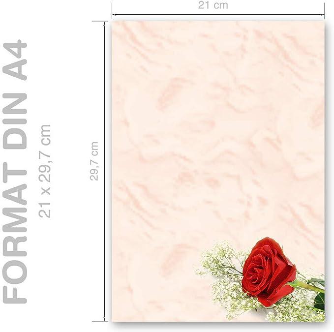 DIN A4 Format 50 Blatt Motiv-Briefpapier BACCARA ROSEN