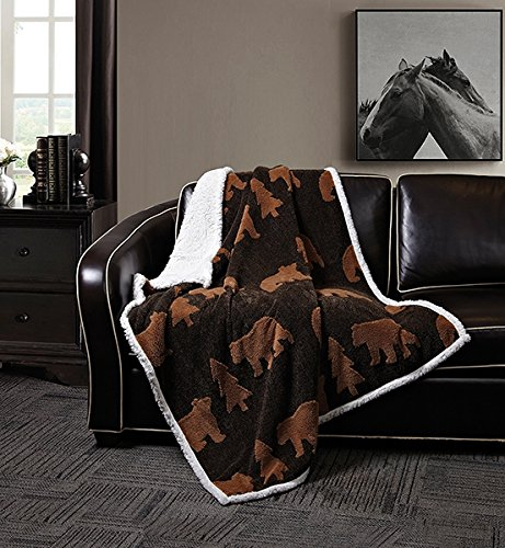 Black Bear Throw - Virah Bella Black Brown Bear by Phyllis Dobbs Jacquard Fleece Sherpa Back Throw Blanket, 50 x 60 Inches