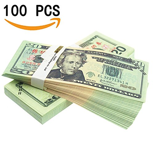 y Pretend Dollar Bills $2,000 Full Print New Style Money Copy of $20 Dollar Bills Stack, in Authentic Bank Strap ()