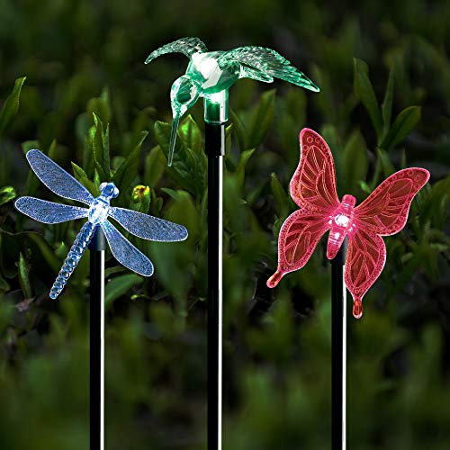 Solar Stake Lights Outdoor Garden Voona 3-Pack Color Chaning LED Lights with Clear Butterfly Dragonfly Hummingbird Stake Mixed for Outdoor Garden Pathway Lawn Yard Decoration by voona