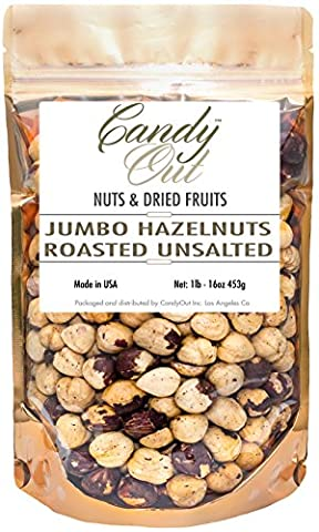 CandyOut Dry Roasted Unsalted Hazelnuts 1 Pound - 16 Ounce in Reusable Bag (Hazelnut Roasted)