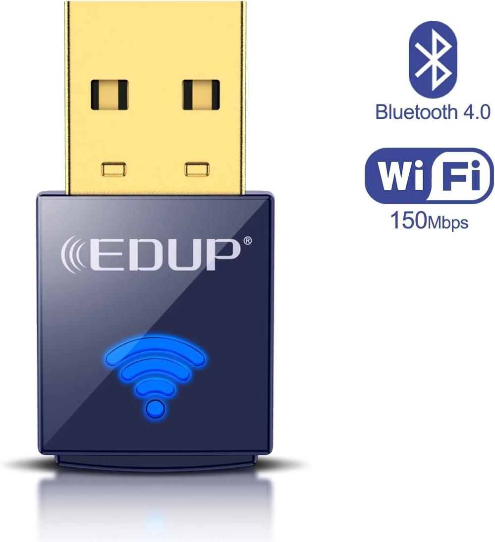 EDUP - Adaptador USB Bluetooth WiFi, Adaptador inalámbrico de Red Nano USB para Ordenador portátil, PC de Escritorio, Wi-Fi Dongle Compatible con Windows 10/7/8/8.1/XP Mac OS X 10.6-10.15.3