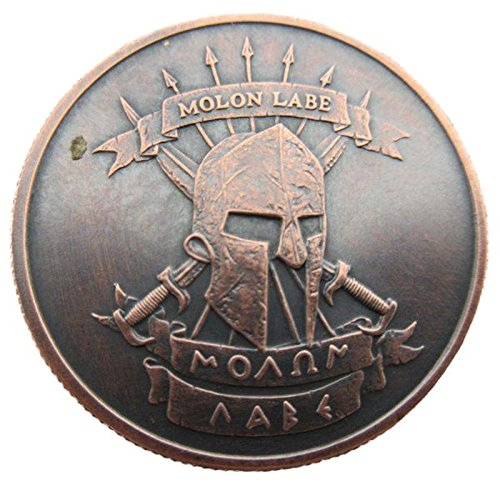 Molon Labe ~ Come And Take [Them] 1 oz .999 Pure Copper Challenge Coin w/ Black Patina (Shop Coin)