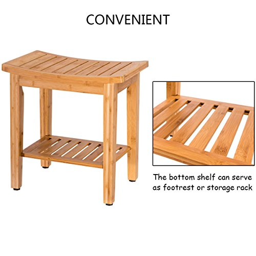 totoshopbathseat New Bamboo Shower Seat Bench Bathroom Spa Bath Organizer Stool w/Storage Shelf 18'' by totoshopbathseat (Image #6)