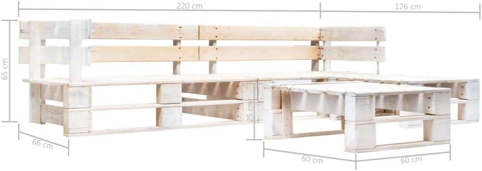 4 Piezas,220x126x55cm, Blanco UnfadeMemory Sofa Palets Exterior o Interior con Mesa de Centro,Sof/ás de Exterior,Conjunto de Muebles de Jard/ín Patio o Sala de Estar,Madera FSC