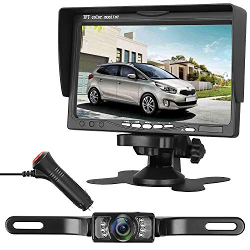 iStrong Backup Camera System 7′ Monitor for Truck/RV/Car/Pickup/Camper Waterproof Rear/Front View Reverse/Full-time Use Night Vision Guide Lines ON/Off For Sale