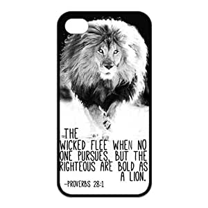 iPhone 4/4S Case, Bible Verse Proverbs 28:1 Lion Hard TPU Rubber Snap-on Case for iPhone 4 / 4S