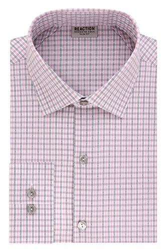 Kenneth Cole REACTION Men's Technicole Slim Fit Textured Check Spread Collar Dress Shirt, Cameo, 16