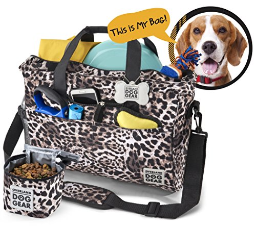 (Dog Travel Bag - Day Away Tote For All Size Dogs - Includes Bag, Lined Food Carrier, And Luggage Tag (Animal Print))