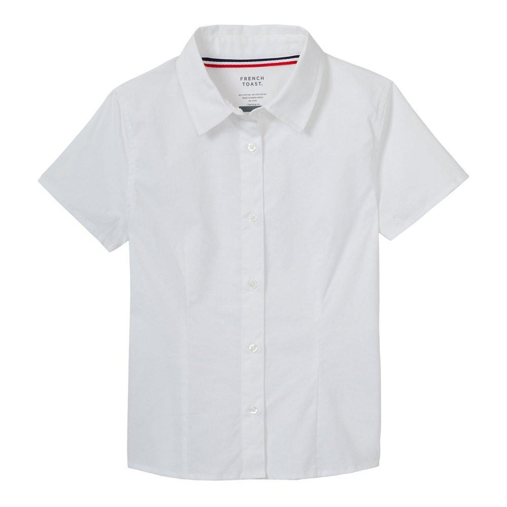 French Toast Girls' Big Short Sleeve Stretch Shirt, White, 8