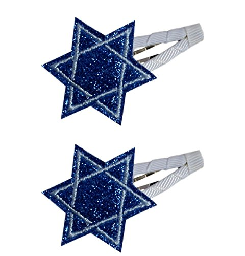 Hanukkah Glitter Jewish Star of David Hair Clip SET (2 Inch Snap Clips)