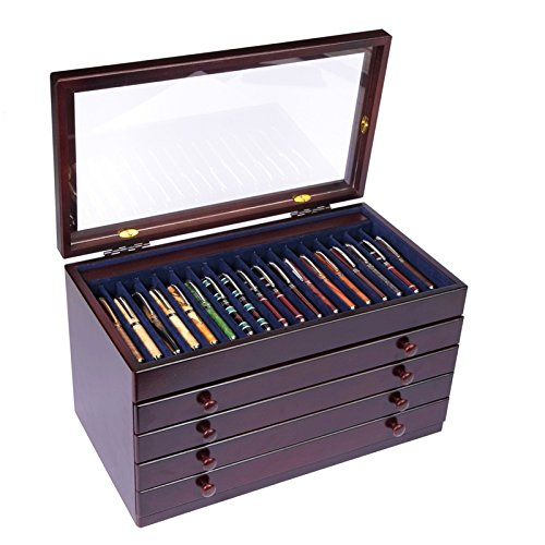 Mahogany Pen Chest with Glass Top - 76 Pens by Lanier Pens