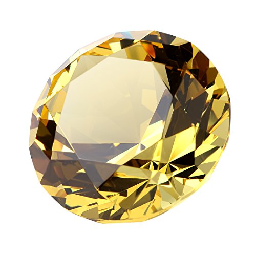H&D Optical Crystal Diamond Paperweight (gold)