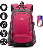 Backpack for School College Student Business Travel Bookbag with USB Charging Port (Pink)