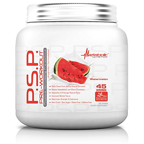 Metabolic Nutrition, PSP, Physique Enhancing Pre Workout Powder, Pre Intra Workout, Increase Muscle Pump, Stimulant Free Workout Supplement, Watermelon, 360 grams (45 servings)