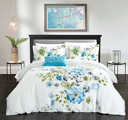 Chic Home 4 Piece Enchanted Garden Reversible floral print and geometric patterned technique Queen Duvet Cover Set (Enchanted Queen)