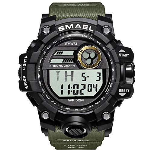 KXAITO Mens Digital LED Sports Watch Military Multifunction Dual Time Alarm Countdown Stopwatch 12H/24H Time Backlight 164FT 50M Water Resistant Calendar Month Date Day Watch (Green)
