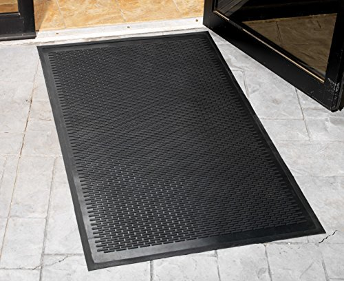 Guardian - MLL14030500 Clean Step Scraper Outdoor Floor Mat, Natural Rubber, 3'x5', Black, Ideal for any outside entryway, Scrapes Shoes Clean of Dirt and Grime