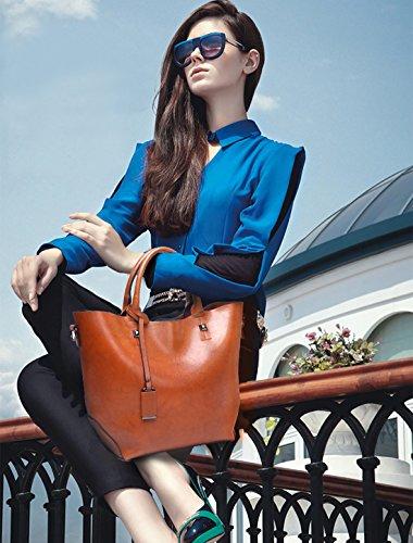 Bolsos Crossbody Elegante Bolso Bolsa Oscuro Mujer Tote Monederos Bucket Bag de Bolso Rojo amp;DORIS Mujer PU Grande Bandolera NICOLE Marrón Mano de para pqwS7X5n