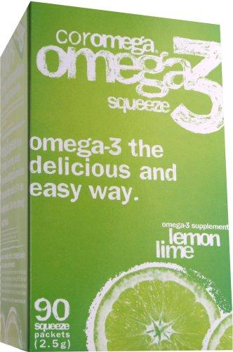Huile Coromega oméga-3 du poisson, citron-limette, 90 ct