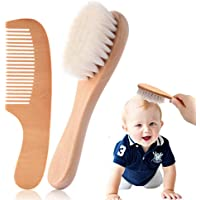 Baby Hair Brush and Comb Set, Newborns Toddlers Kids Natural Soft Goat Bristles Massage Comb Bath Brush with Wooden…