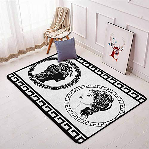 Toga Party Super Soft Round Home Carpet Roman Aristocrat Woman Profiles Circular Classical Frames Hairstyle Beauty for Sofa Living Room W47.2 x L63 Inch Black White