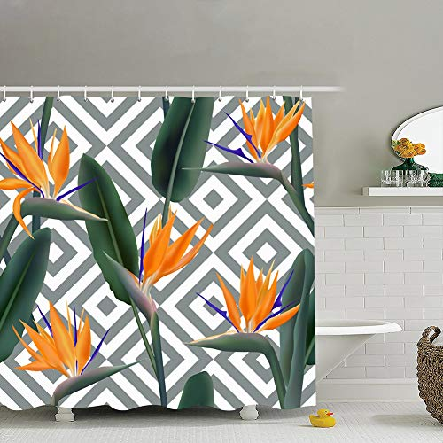 Bird Paradise Tropical Flower Seamless Beauty Fashion Fabric Bathroom Decor Set with Hooks, 72 x 72 - Fabric Sout