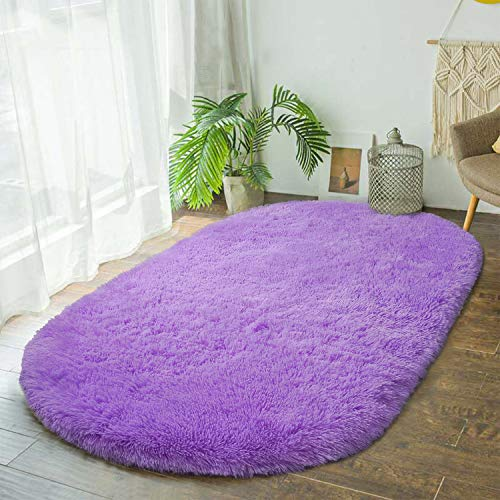 Terrug Round Rug for Bedroom,Fluffy Oval Rug for Kids Room,Furry Carpet for Teen's Room,Shaggy Throw Rug for Nursery Room,Fuzzy Plush Rug for Dorm,White Carpet,Cute Room Decor for Baby