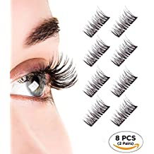 Magnetic Eyelashes, Dual Magnetic Eyelashes 0.2MM Ultra Thin 3D Eyelashes for Ultra Soft Natural Look & Handmade Seconds to Apply, Perfect Size For All Eyes (2 pair - 8 pieces)