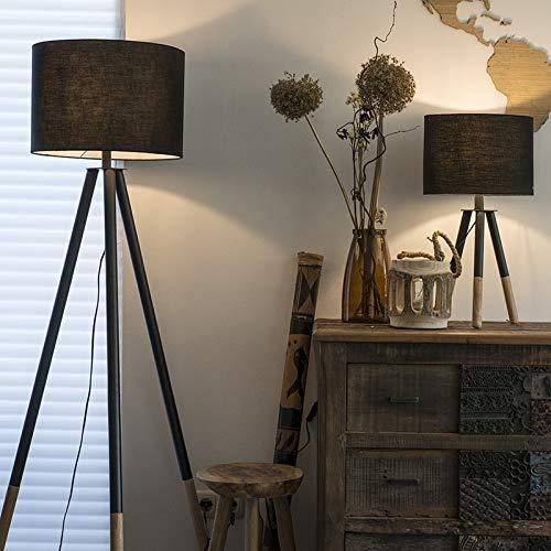 QAZQA Modern Set van tafel- en vloerlamp met kap zwart – Pip Hout Rond Geschikt voor LED Max. 1 x 40 Watt