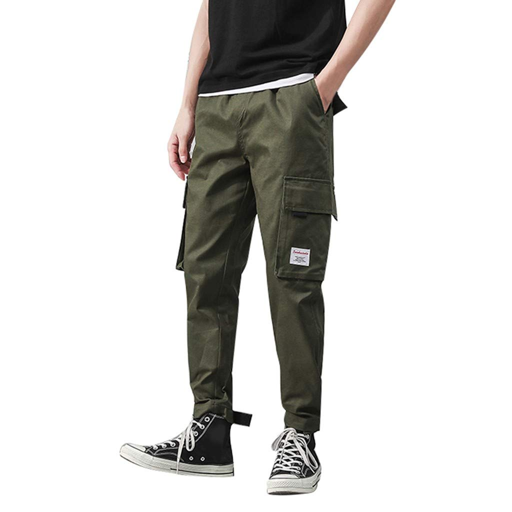Allywit Men's Jogger Pants Causal Workout Trousers Slim Fit Beach Sweatpants Comfortable with Large Pockets Army Green