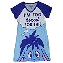 Disney Eeyore I'm Too Tired For This Blue Nightgown Long Sleep Shirt