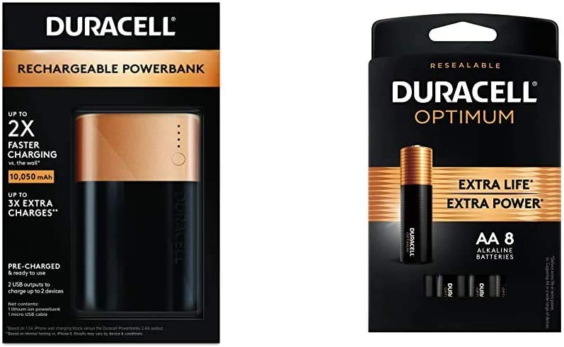 Duracell Rechargeable Powerbank 10050 mAh 3 Day Portable Charger Compatible with iPhone, iPad, Samsung, Android, Nintendo Switch & Optimum AA Batteries Premium Double A 1.5V Alkaline Battery