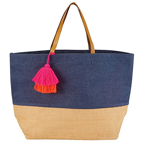 Mud Pie 8613351N Color Block Jute Tote Bag, Navy