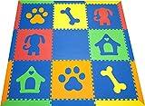 SoftTiles Baby/Kids Foam Playmats- Puppy Dog Theme- Playroom/Nursery Flooring w/Sloped Edges Large 2' Floor Tiles (6.5' x 6.5') Blue, Red, Orange, Yellow, Lime SCDOGBROYL