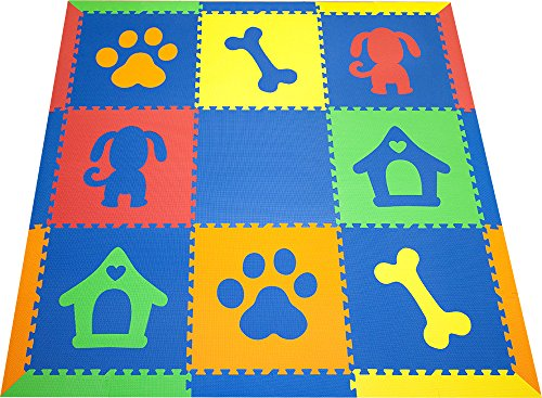 SoftTiles Baby/Kids Foam Playmats- Puppy Dog Theme- Playroom/Nursery Flooring w/Sloped Edges Large 2' Floor Tiles (6.5' x 6.5') Blue, Red, Orange, Yellow, Lime SCDOGBROYL by SoftTiles