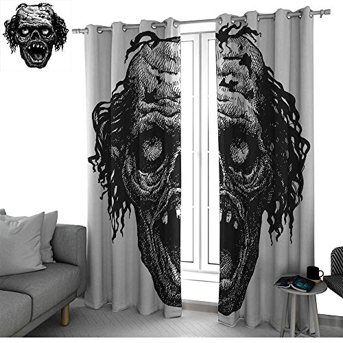 Benmo House Halloween Sliding Door Insulated Curtains Zombie Head Evil Dead Man Portrait Fiction Creature Scary Monster Graphic Country Curtain Black Dark Grey W120 x L84 Inch -