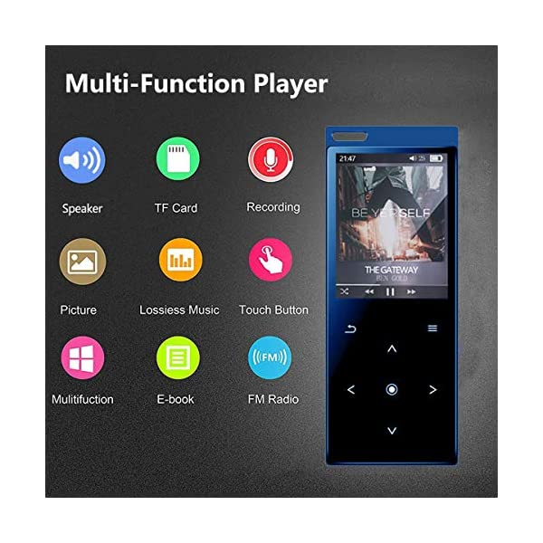 MP3 Player with Bluetooth4.2, 16GB Portable MP3 Player with Speaker Touch Button/1.8TFT Screen Metal Body HiFi Music Player with FM Radio, Voice Recorder, Supports up to 128GB SD Card 5