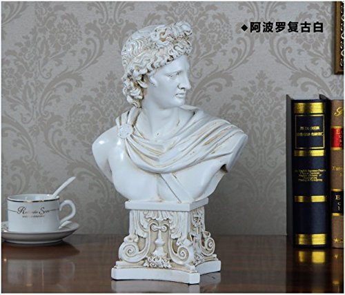 Resin Exquisite David Apollo Head Bust Sculpture Figurine Statue, Antique White Color, Perfect Home Decoration and (David Bust)