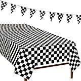 R.HORSE 3 Packs Rectangular Tablecloth Black and White Checkered Tablecloth Checkered Triangle Flag Racing Party Decoration 2 Checkered Racing Tablecloth 1 Checkered Racing Triangle Flag String Banner