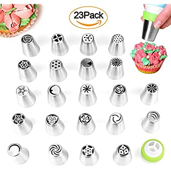 XUZOU Russian Piping Tips Cake Decorating 39 Baking Supplies Set